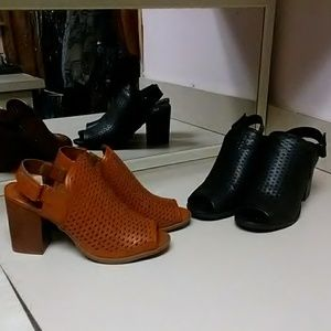 2 pairs, size 9M, brown & black, open toe sandals